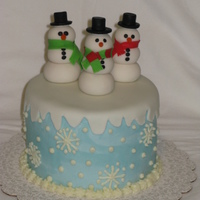 Snowflakes And Snowmen Chocolate WASC with chocolate ganache filling; Gumpaste snowmen with black MMF hats, all hand made by me.
