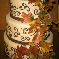 Fall Into Love Gumpaste fall leaves. Royal scroll work.