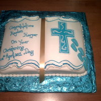 Blue, And White Bible Cake Its a sponge cake covered with fondant and decorated with royal icing the footprints are fondant.