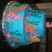 Under The Sea Birthday Cake fondant decorations, buttercream icing