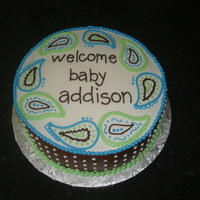 "Paisley Splash Baby Shower Cake  This was to match the ""Paisley Splash"" baby bedding. The sides of the cake are chocolate fondant, everything else is buttercream..."