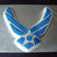 Air Force Logo Cake This cake was hand carved and iced with buttercream with blue fondant accents. Icing those corners were very difficult!
