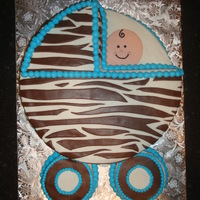 Baby Carriage Cake   buttercream with chocolate fondant zebra stripes