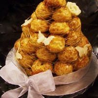 Mini Croquembouche Made this one in my Advanced Display Cakes class as well. We are just truckin' along :D