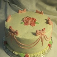 "Bows,swags.flowers 12"" round cake with fondant bows, swags and flowers"