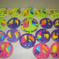 Tie Dye Peace Sign Cookies tie dye peace sign cookies decorated with vanilla buttercream
