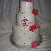 Red And Pink Tiered Cake This cake was for a 90th birthday, she loves valentine colors. Frosted in buttercream with fondant flowers and monogram. TFL!