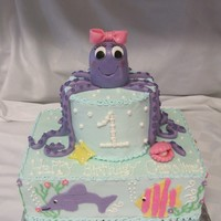 Under The Sea Octopus Cake Under the sea themed cake. Octopus topper is rice krispy treats covered in fondant. The legs, starfish, and clam with pearl are made out of...