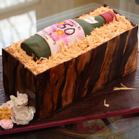 Wine Bottle Cake with Fondant covered board, crate and bottle