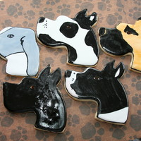 Great Dane Cookies Sugar Cookies with Royal Icing, painted with food coloring
