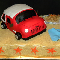 Jeep Birthday Cake Chocolate cake with buttercream icing and coated with crushed vanilla cookies. Jeep handmade with rice crispy treats.