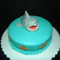 Yay! Shark Week Starts Tomorrow, Aug 1St! Chocolate peppermint cake with buttercream icing. Shark and starfish are made from fondant/gumpaste.