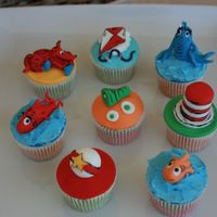 Dr Seuss Themed Cupcakes All the toppers are made of fondant.