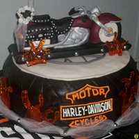 Harley Davidson Cake This is a cake I did for a couple that wanted a really cool informal Harley wedding cake. The tire is chocolate cake w/ chocolate bc,...