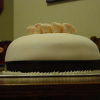 Side View white cake filled with Chocolate mousse, covered in fondant