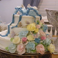 Baby Boy Shower Cake This was a cake made by me for the baby shower for my first grandchild. The flowers and butterflies are gum paste. The layers are 12&quot...
