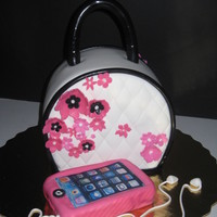 Chic And Always W. The Ipod! Purse with pink flowers and the Ipod