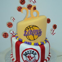 26Th Birthday Fondant Cake with Lakers and Red Sox Theme
