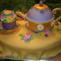 Tea Party   Tea cup filled with royal sugar flowers and tea kettle with pearls