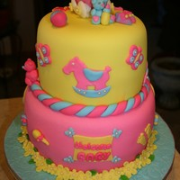 Baby Shower For Natalie  I made this cake for my coworker for her baby shower. Cherry chocolate cake and bavarian cream filling, buttercream, fondant and every...