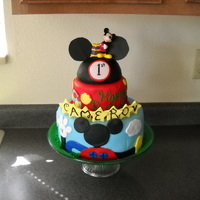 Mickey Mouse Clubhouse (My 7Th Cake) I made this cake because I saw some cakes with a similar theme. I added a hat on top and it turned out good. I loved making this and...