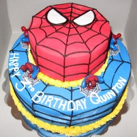 Spider Man Yellow cake with Choc buttercream and Frondant on the outside. The spide man figures i got at the craft store.