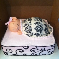 "Baby In Blanket Cake made for a recent baby shower. Baby's head is 2 mini-balls put together and a half-ball pan was used for the babies ""body&..."