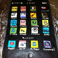 I Phone Cake This is a cake I made for my niece for her 16th bday. She wanted to choose all of her favorite things for her apps. Fun to make , but was...