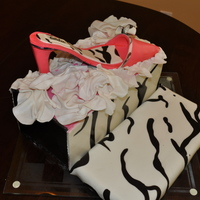 Pink & Zebra Print High Heel Shoe birthday cake for a clients' daughter who loves hot pink and zebra print. this was my first shoe. all gumpaste and fondant. the lid...