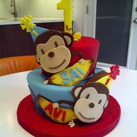Another Monkey Cake A friend requested a monkey cake for her twin sons first birthday to match the monkeys and color scheme from t-shirts they were wearing on...