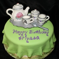 Tea Party Birthday   Tea set was made with gumpaste and then painted