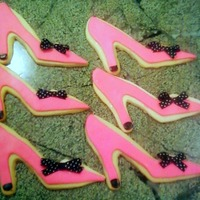 "High Heel Shoe Cookies Khalstead's NFSC. Hot Pink Fondant. My daughter asked me to make high heel shoe cookies for the ""goodie bags"" for a Fashion..."