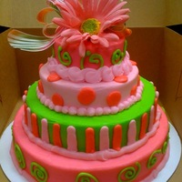 Green And Pink Cake! This was a small tiered cake. Single layered 10,8,6,4. Colored in Bright green, bright pink, baby pink butter cream. Used a matching ribbon...