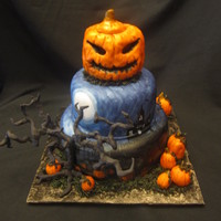 Halloween Cakes Real Jack O Lantern topper LOVED this cake!