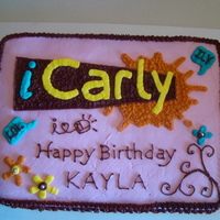 Icarly Birthday Cake  This cake was made for my wonderful granddaughter, Kayla. It is all buttercream icing. I used the little silver edible beads to brighten up...