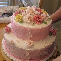 Cake Covered With Fondant & Gumpaste Flowers