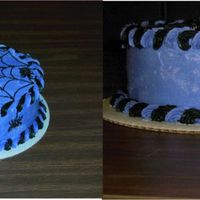 Purple Cake With Web And Spiders I made two cakes for my to sons School Fall Carnival on Friday