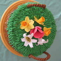 Easter Basket Cake This is a carrot cake with cream cheese frosting and gum paste flowers