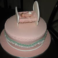 Baby In A Crib.   CAKE MAKE FOR A FRIEND'S BABY SHOWER.