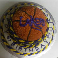 Basketball Lakers team basketball cake made for a 10 year olds birthday!