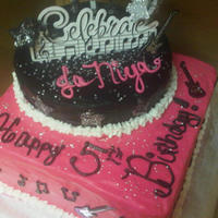 """rock Star"" Cake Little girl wanted a hot pink, black and white cake in rock star theme. All buttercream except stars made of fondant and edible glitter."