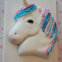 Unicorn Cake Confetti cake with buttercream and MMF. Fondant horn and mane and tail.