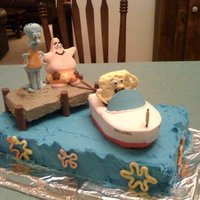 Spongebob  This is a birthday cake for my husband , the cake is a pound cake with buttercream icing, the figures are in fondant. It was time consuming...