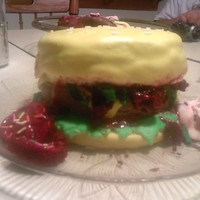Hamburger Cake My First Cake Made From Mashmellow Fondant (Yeah I Know Its Messy)