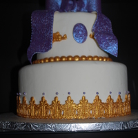 Purple And Gold fondant covered w/ purple and gold trim
