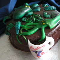 "Monsters From Deep Blue Sea This cake was created for 8 years old boy, who loves the books from ""Monsterquest"". I did not want to use too much of covering,..."