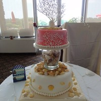 "Coral And Beach Bridal Shower Cake This a bridal shower cake inspired by a cake here by ""heipops"". The bottom tier is chocolate cake with irish cream filling. Top..."