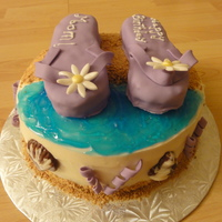 Flip Flops Strawberry shortcake covered in buttercream. Flip flops made of RKT. Crushed cinnamon cookies for sand and piping gel for water. Chocolate...