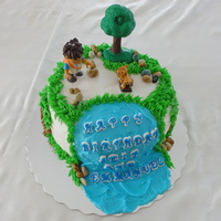 Diego Cake A Diego cake made for twin boys' birthday. My first attempt at a vegan cake covered with buttercream. All the decorations are...