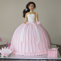 Doll Cake 2 stacked cakes top tier is vanilla cakebottom tier is chocolate with BC filling
